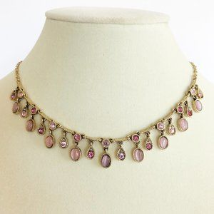 Jewelry - Pink & Gold Necklace & Bracelet Set
